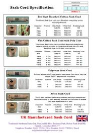 Sash Cord Specification Sheet