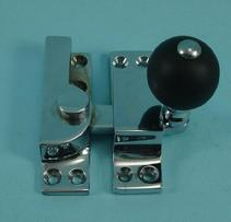 THD104WB/CP Straight Arm Fastener - Black Wood Knob in Chrome Plated