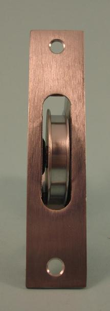 THD241/SCP Brass Wheel Sash Axle Pulley with Square Faceplate in Satin Chrome