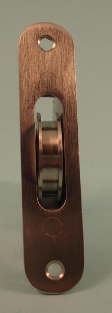 "THD270/SS Ball Bearing - Standard Case, 1.75"" Brass Wheel Pulley with Radius Solid Brass Faceplate in Stainless Steel"