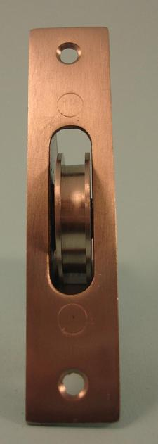 "THD271/SS Ball Bearing - Standard Case, 1.75"" Brass Wheel Pulley with Square Solid Brass Faceplate in Stainless Steel"