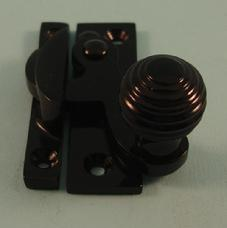 THD113/BLP Clo Fastener - Reeded Knob - Non Locking in Black Polished