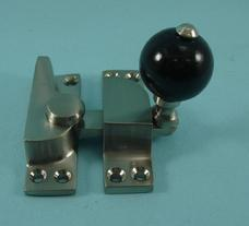 THD104WB/SNP Straight Arm Fastener - Black Wood Knob in Satin Nickel Plated