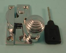 THD113L/CP Clo Fastener - Reeded Knob - Locking in Chrome Plated