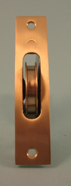 THD241/SB Brass Wheel Sash Axle Pulley with Square Faceplate in Satin Brass