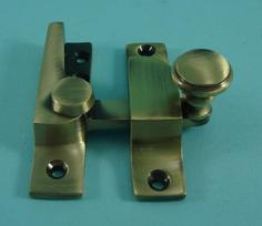 THD099N/AB Straight Arm Fastener - Raised Round Knob - Narrow in Antique Brass