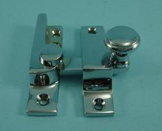 THD099N/CP Straight Arm Fastener - Raised Round Knob - Narrow in Chrome Plated