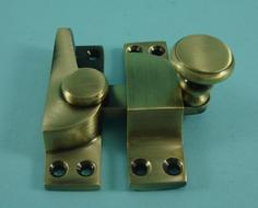 THD099/AB Straight Arm Fastener - Raised Round Knob - Standard in Antique Brass