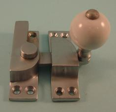 THD104/SCP Straight Arm Fastener - Standard - Ceramic Knob in Satin Chrome