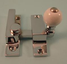 THD104N/CP Straight Arm Fastener - Narrow - Ceramic Knob in Chrome Plated