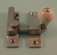 THD104N/SCP Straight Arm Fastener - Narrow - Ceramic Knob in Satin Chrome