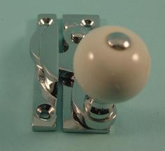 THD108/CP Clo Fastener - Ceramic Knob - Non locking - Chrome Plated