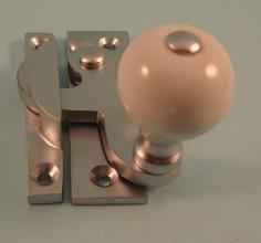 THD108/SCP Clo Fastener - Ceramic Knob - Non Locking - Satin Chrome