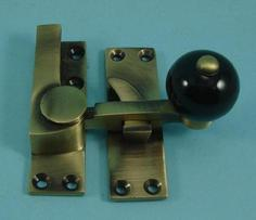 THD157CB/AB Quadrant Fastener - Black Ceramic Knob in Antique Brass