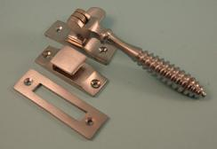 THD132/SCP Reeded Casement Fastener with Hook and Mortice Plate in Satin Chrome