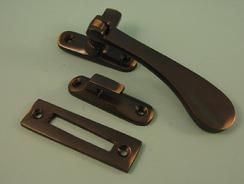 THD179/AC Victorian Casement Fastener With Hook & Mortice Plate in Antique Copper
