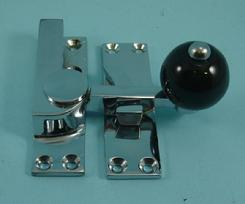 THD157CB/CP Quadrant Fastener - Black Ceramic Knob in Chrome Plated