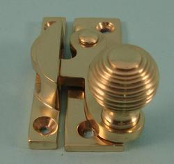THD113/PB Claw Fastener - Reeded Knob - Non Locking in Polished Brass