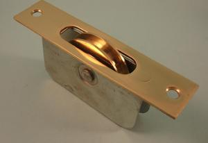 "THD139 Ball Bearing - Standard Case, 2"" Brass Wheel Pulley with a Square Solid Brass Faceplate"